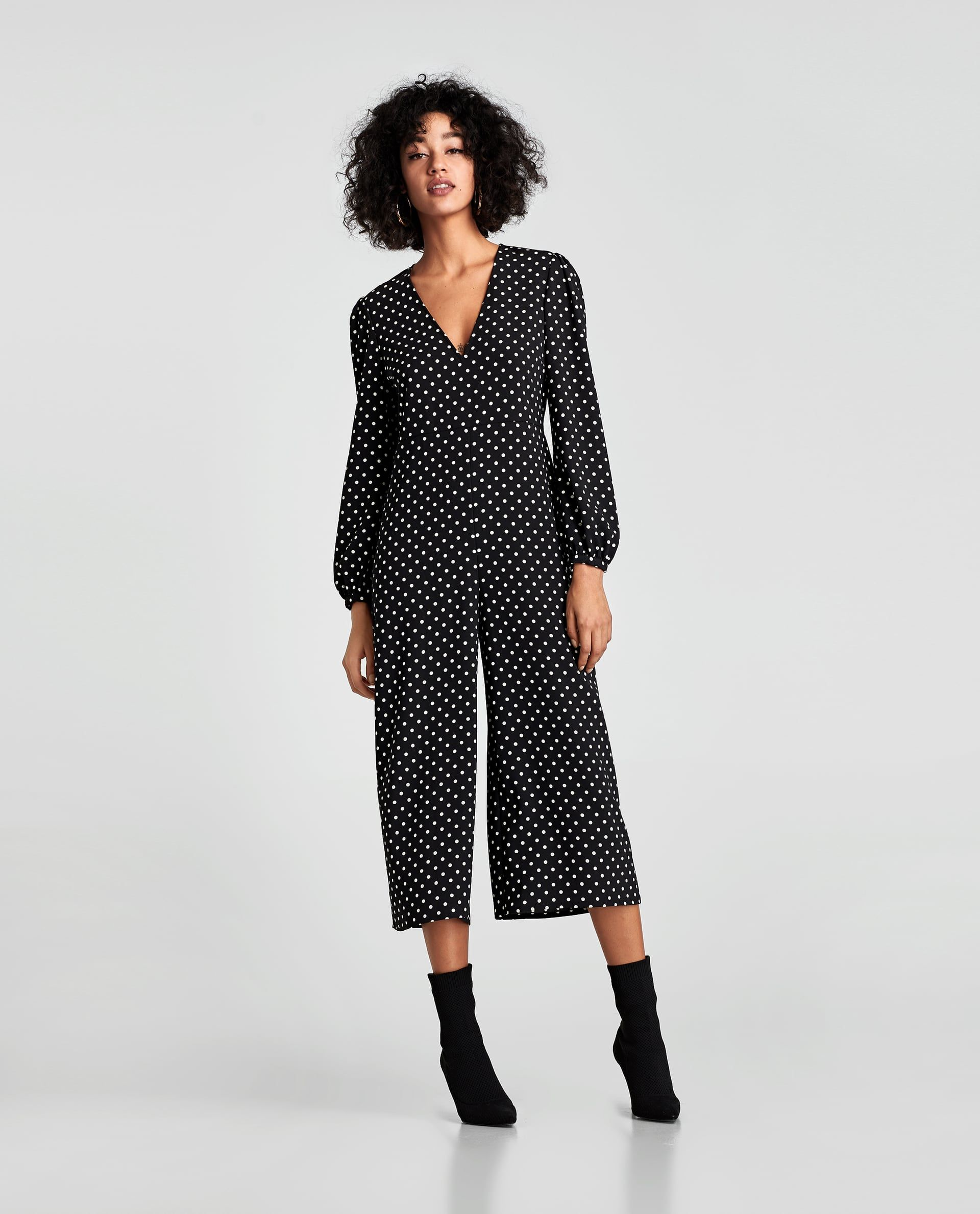 c4f255c7bf2  70 Black   White Polka Dot Cropped Jumpsuit