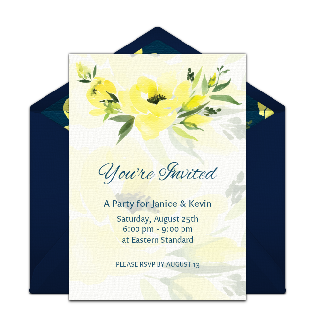 This Is One Of Our Favorite Free Party Invitations Navy Floral Easily Personalize And Send Via Email For A Summer Birthday Bridal Shower More