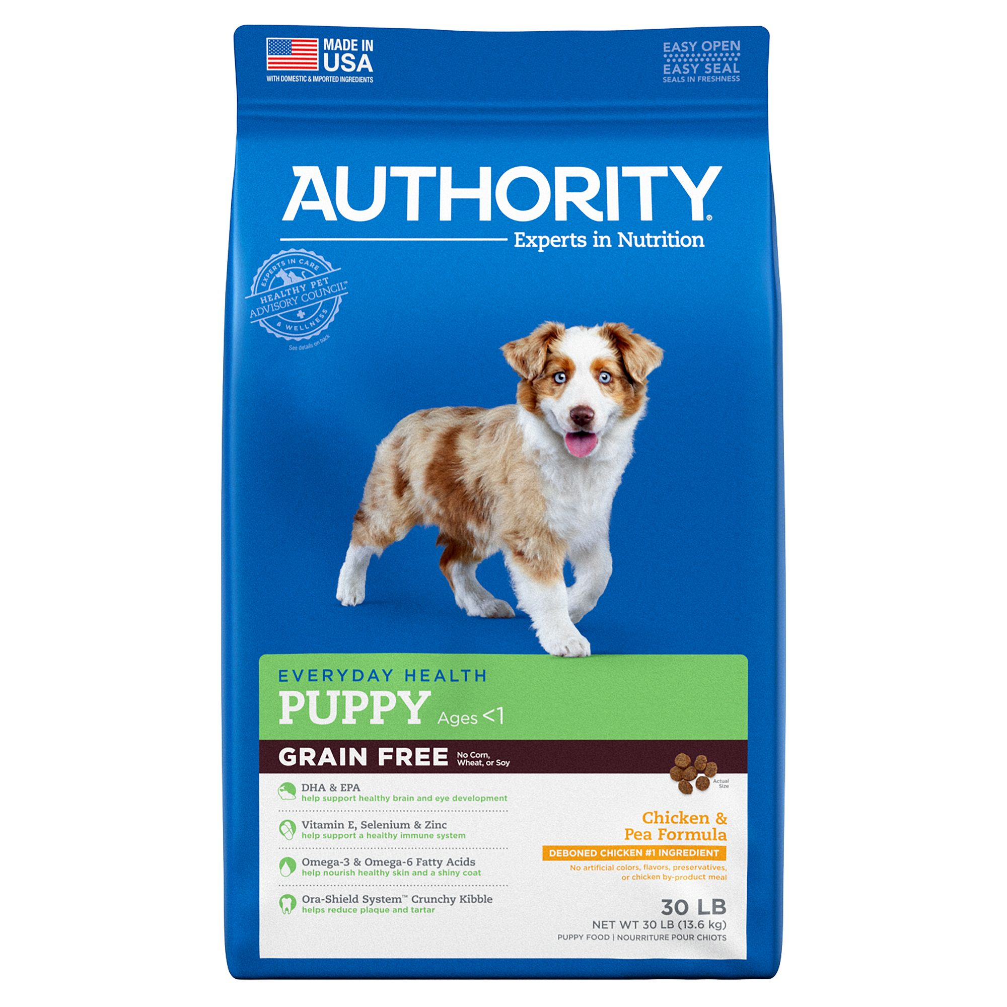 Authority puppy food grain free chicken and pea size