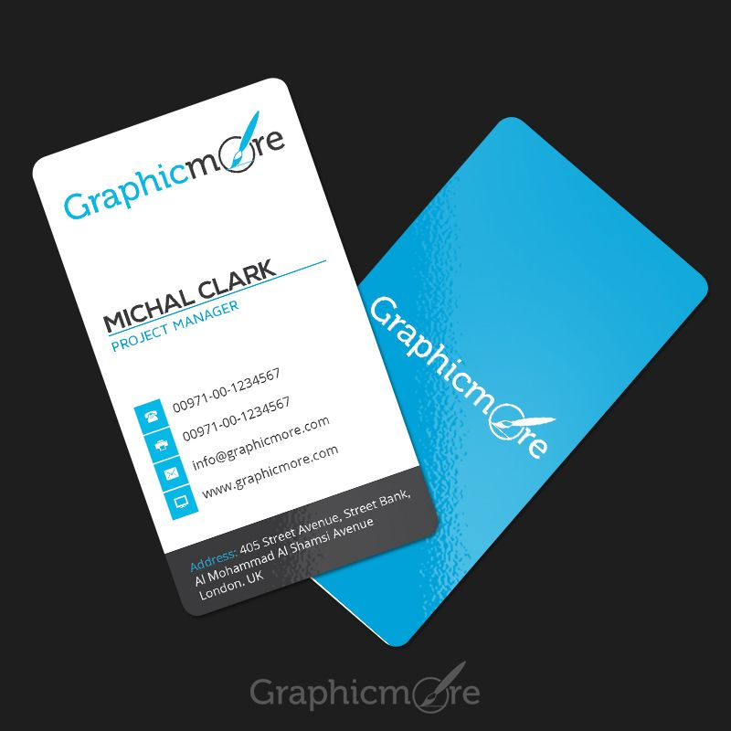 Clean Vertical Rounded Corner Business Card Template In 2021 Vertical Business Cards Round Business Cards Business Card Template