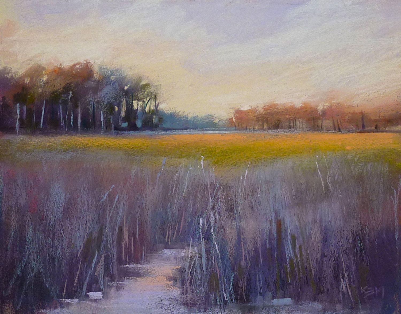 Lavanda oro Sunset Marsh Arte Original por KarenMargulisFineArt