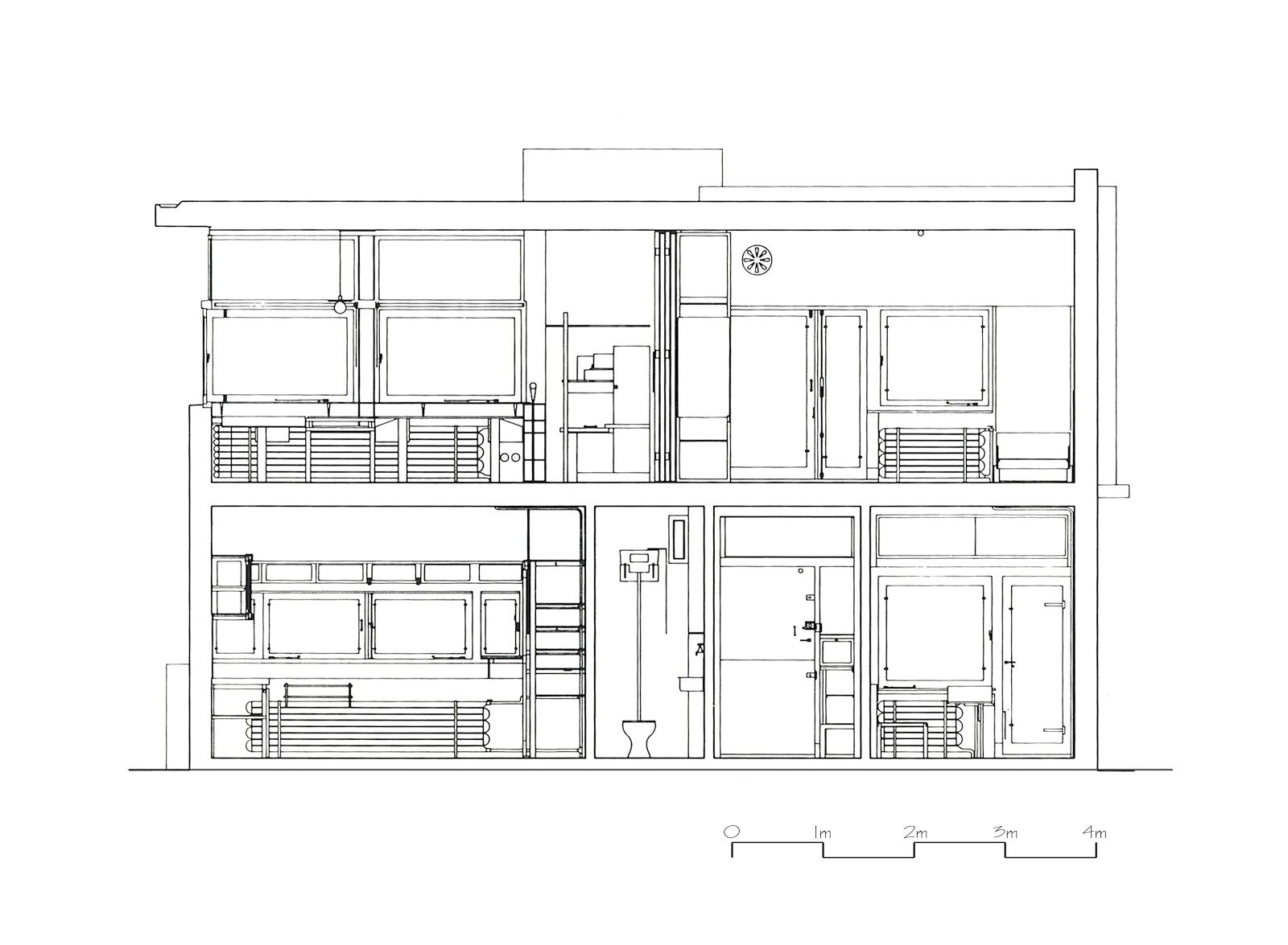 Schroder house plan section elevation