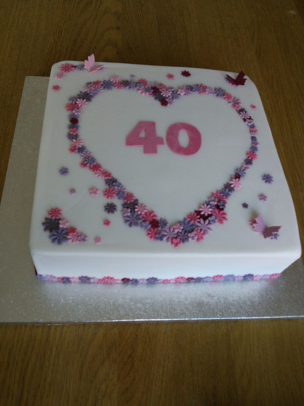 Ruby Wedding Cake With Flowers And Butterflies Fruit Cake With Marzipan And Fondant Icing