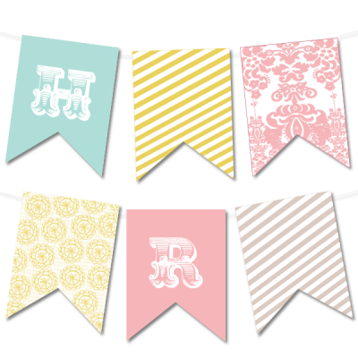 Free Pretty Flora Printable Pennant Banner from printablepartydecor.com