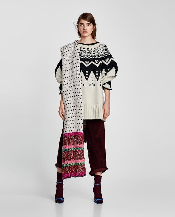 ZARA - WOMAN - SEQUINNED OVERSIZED JACQUARD SWEATER