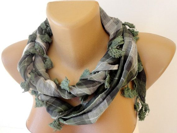 plaid scarf green cotton fabric scarves  summer by scarvesCHIC, $15.00