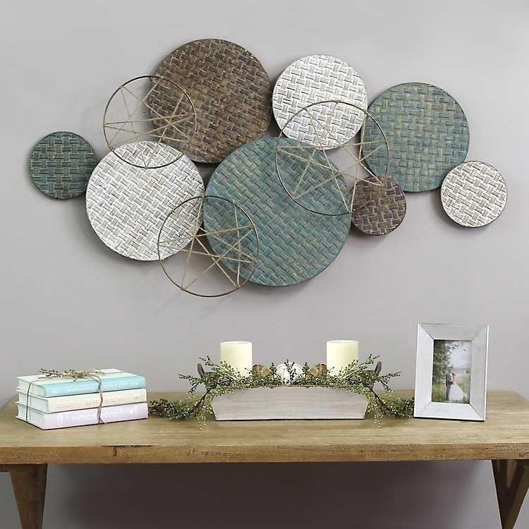 Woven Textured Metal Plates Wall Sculpture Wandteller Dekor Wanddeko Wohnzimmer