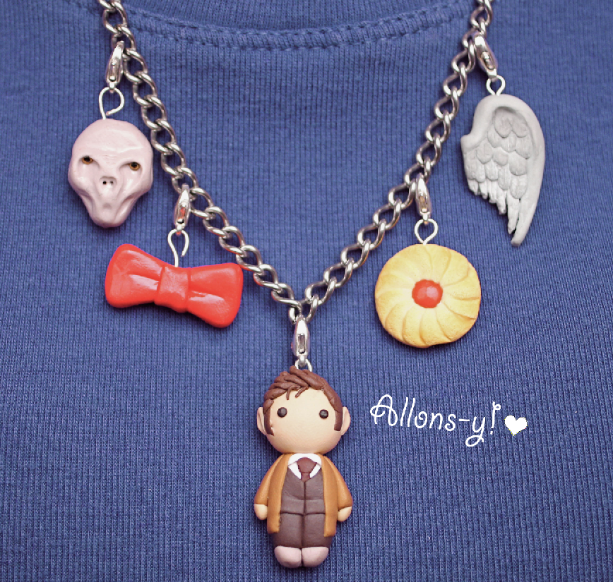 Polymer clay Doctor Who River Song diary necklace