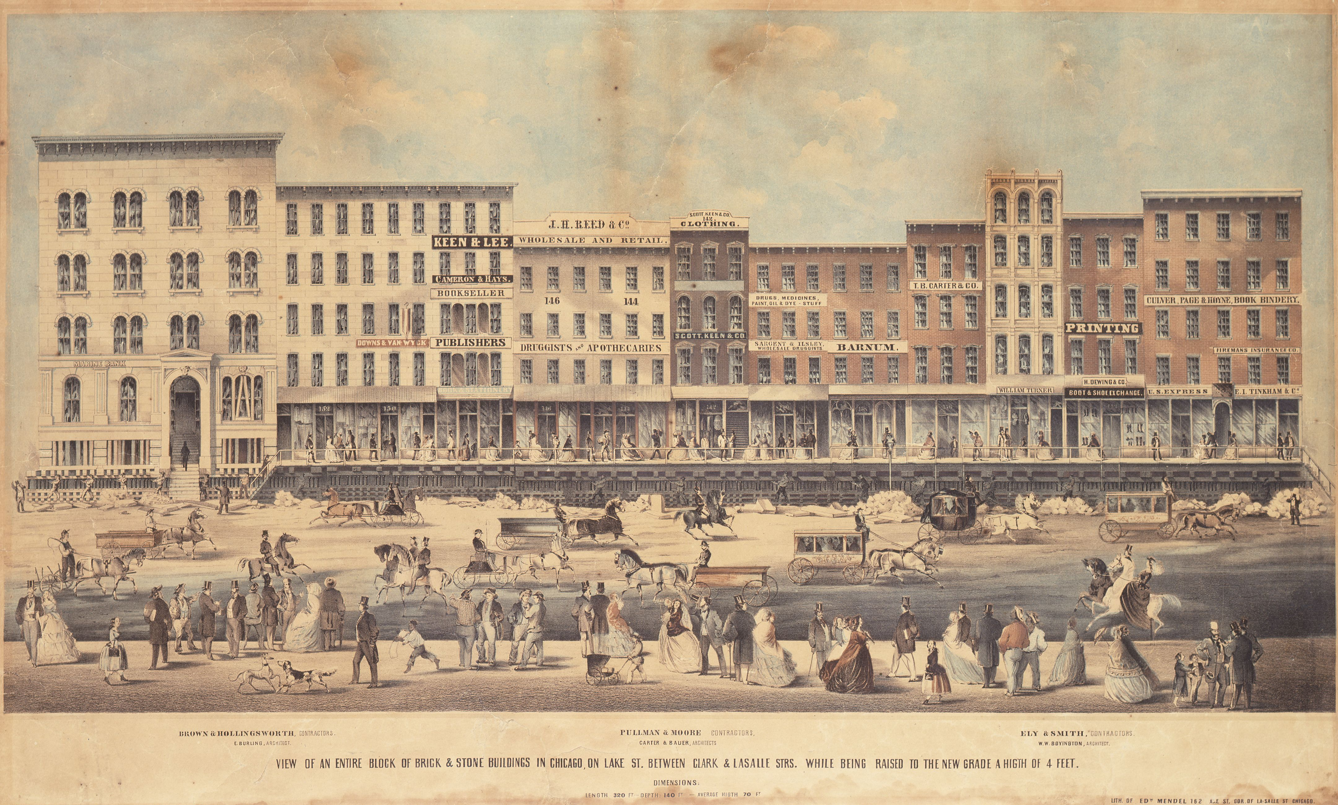 1850's Chicago street being raised by 4ft to install the sewer system underneath the buildings.