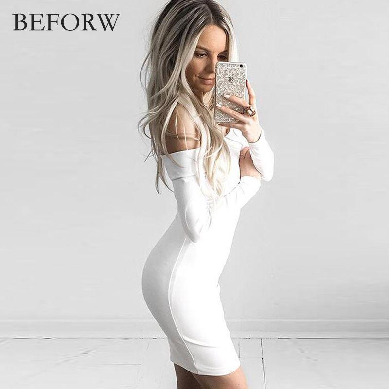 4c49d06a235  18.85 - Nice BEFORW Women Sexy Dress Fashion The Word Shoulder Summer  Autumn Dress Vestidos Big
