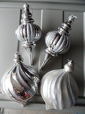 Lot 4 - HUGE Silver Plastic Gitter Ball Christmas Ornaments