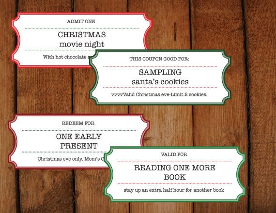 Christmas Coupons \/ Tickets \/ Vouchers - DIY Printable Microsoft - how to make tickets on word