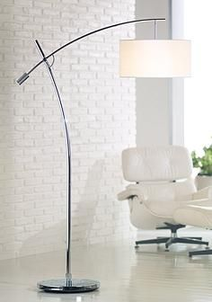 boom arc floor lamp in chrome with linen shade - Arc Floor Lamps