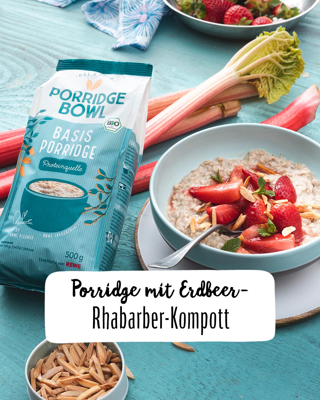 Porridge Mit Erdbeer Rhabarber Kompott Rezept Rezept Rezepte Fruhstuck Gesund Essen Und Trinken