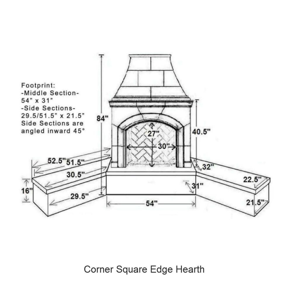 Image Result For Corner Fireplace Dimensions Fireplace Dimensions Hearth Outdoor Fireplace
