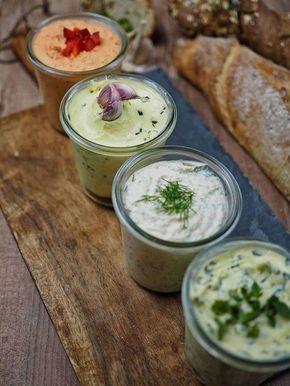 Rezept für 4 schnelle & herzhafte Aufstriche - perfekt zum Grillen [Kräuter/Knoblauch/Lachs/Paprika-Feta] #bellpepperrecipes