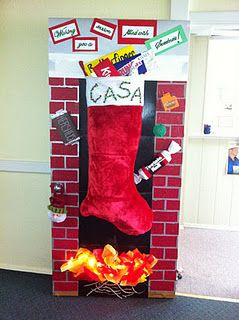 This Oversized Stocking Was Part Of A Door Decorating Contest That Cas Door Decorating Contest Diy Christmas Door Decorations Christmas Door Decorating Contest