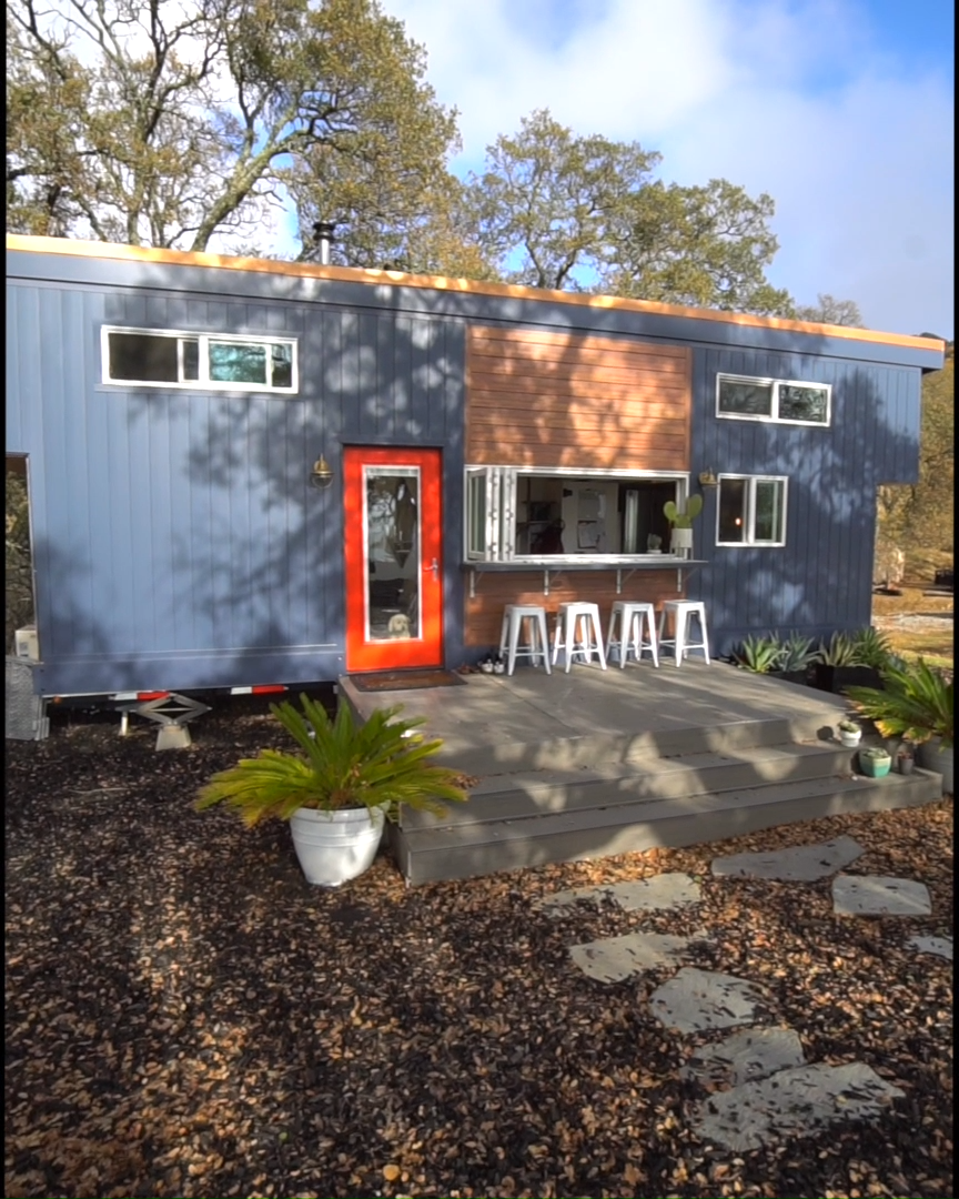 60-second walkthrough of Tiny House Basics' beautiful 374-sqft tiny house on wheels! This tiny home currently sits in Northern California and was built over 4 years ago on a 28-ft trailer.   Tiny House Movement // Tiny Living // Tiny House Living Room // Tiny Home Kitchen // #TinyHouseonWheels #Architecture #Homedecor #TinyHome