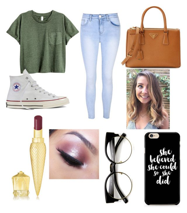 """""""ATLANTA 🍑"""" by annaglew on Polyvore featuring Glamorous, Converse, Prada, Too Faced Cosmetics and Christian Louboutin"""