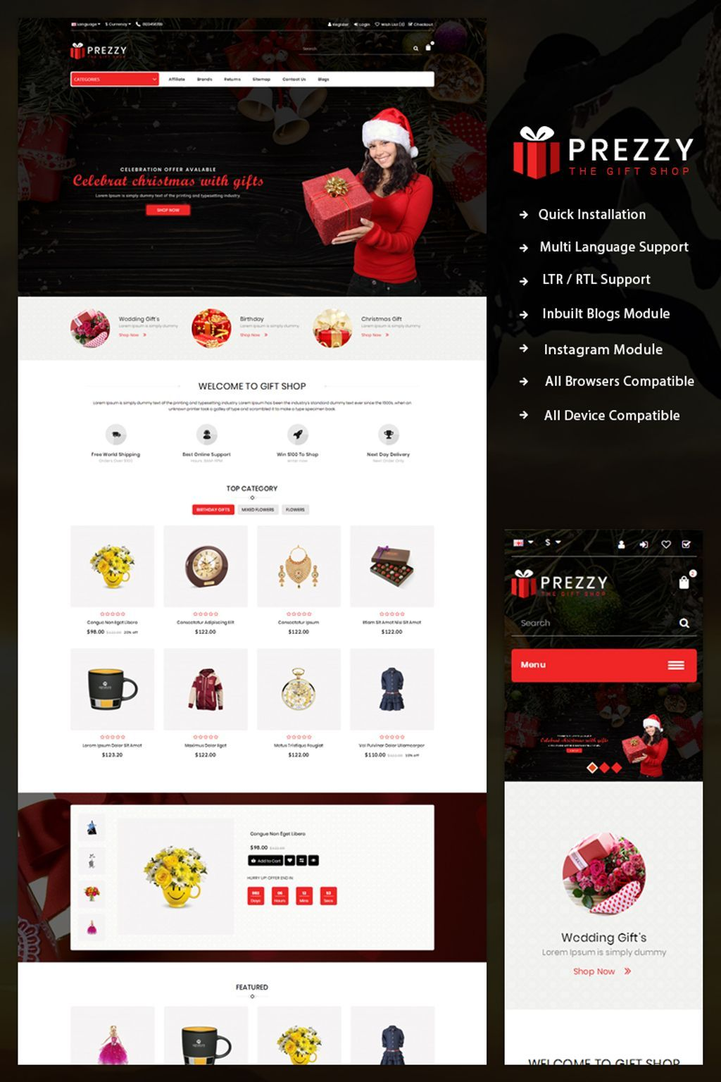 Prezzy Giftshop Opencart Template Will Fit Perfectly To Sell Products Like Flowers Toys Gifts Celebrations Electron Opencart Templates Gift Shop Opencart