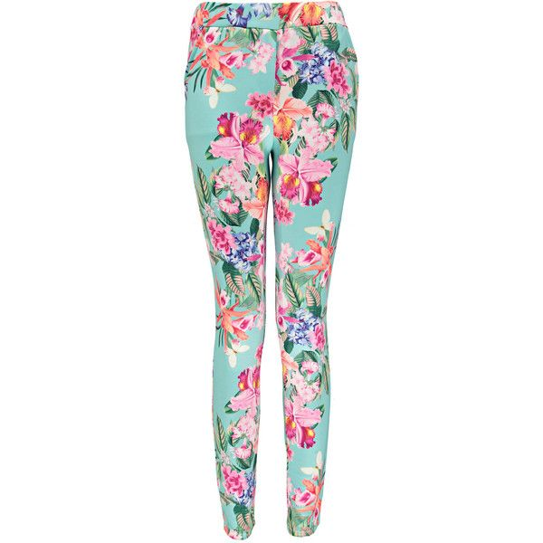 Boohoo Talia Floral Print Fitted Trousers