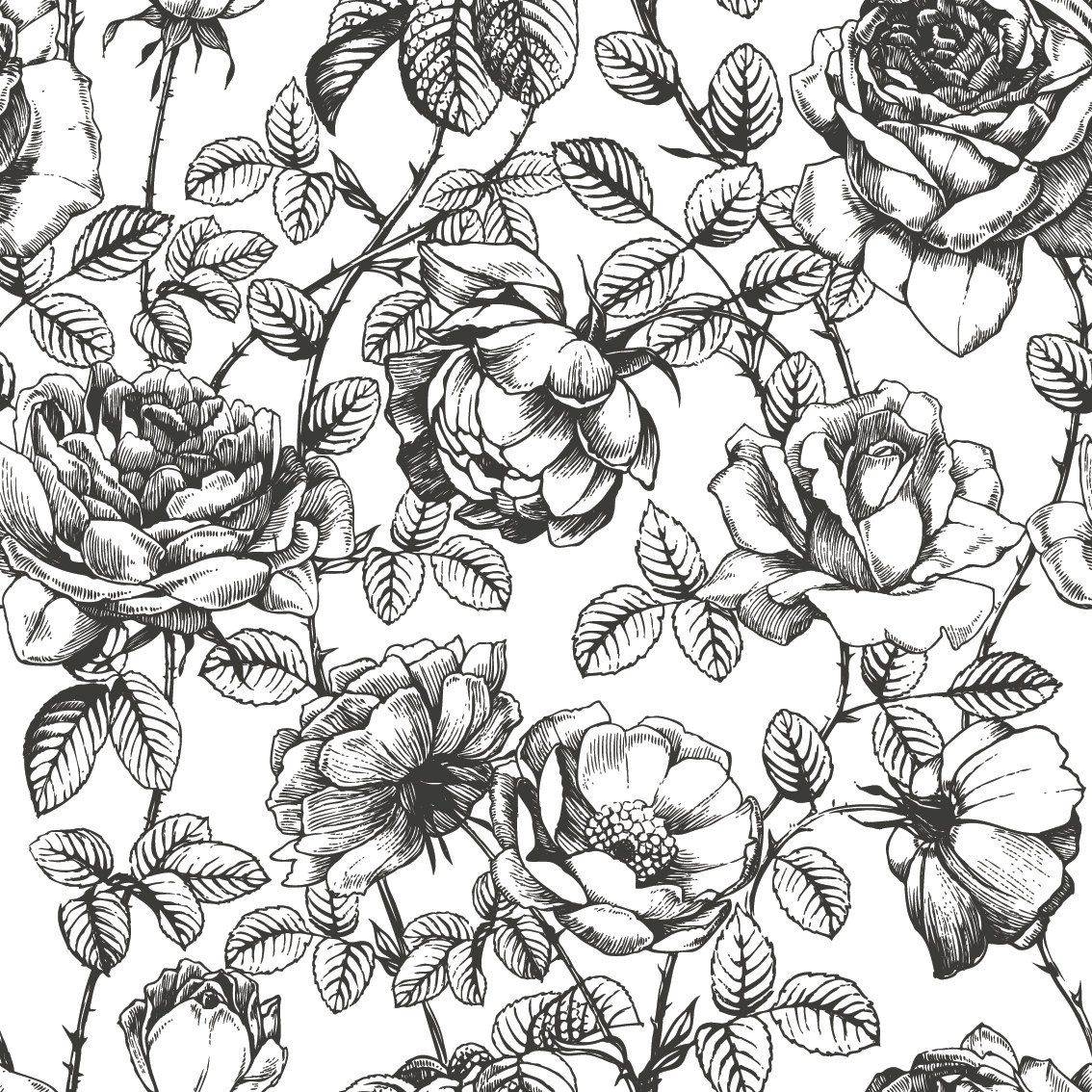 Black And White Floral Wallpaper Nursery Wallpaper Etsy Floral Pattern Wallpaper Roses Drawing How To Draw Hands