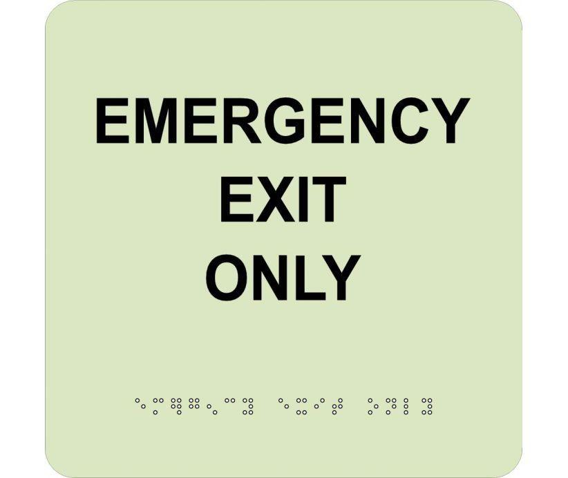 EMERGENCY EXIT ONLY, 8X8, Glow ADA