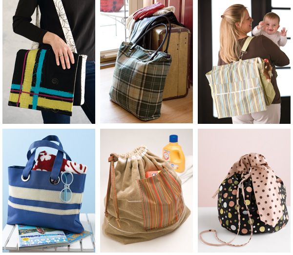 Need a new hobby for your sizeable fabric stash? Sew bags! See how easy and fun sewing bags can be, from stylish purses to sturdy totes and diaper bags. Plus, get a tutorial on making quick handbag handles.