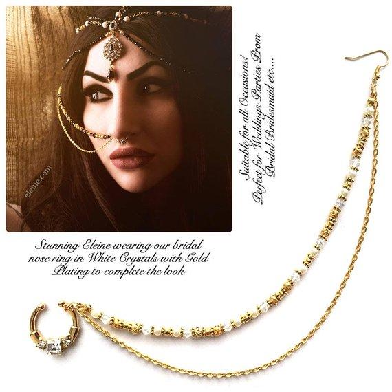 Indian Nose Ring Nose Ring Chain Nath Bridal Nose Ring