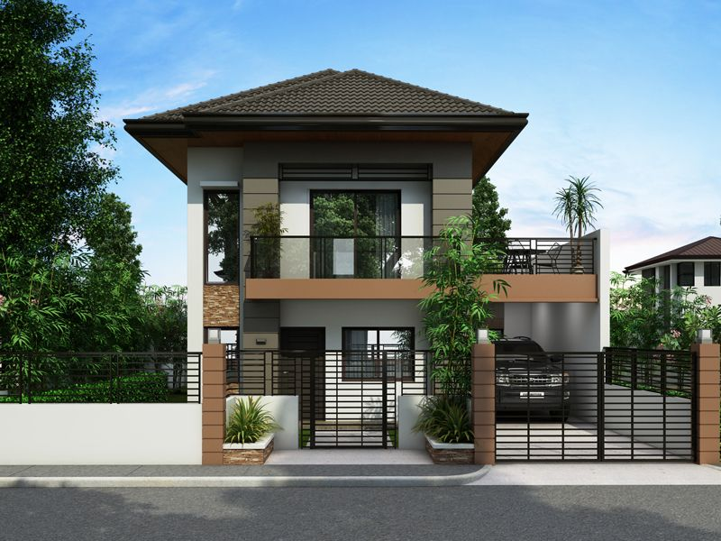 2 Story House With Balcony Plan House Design Plans