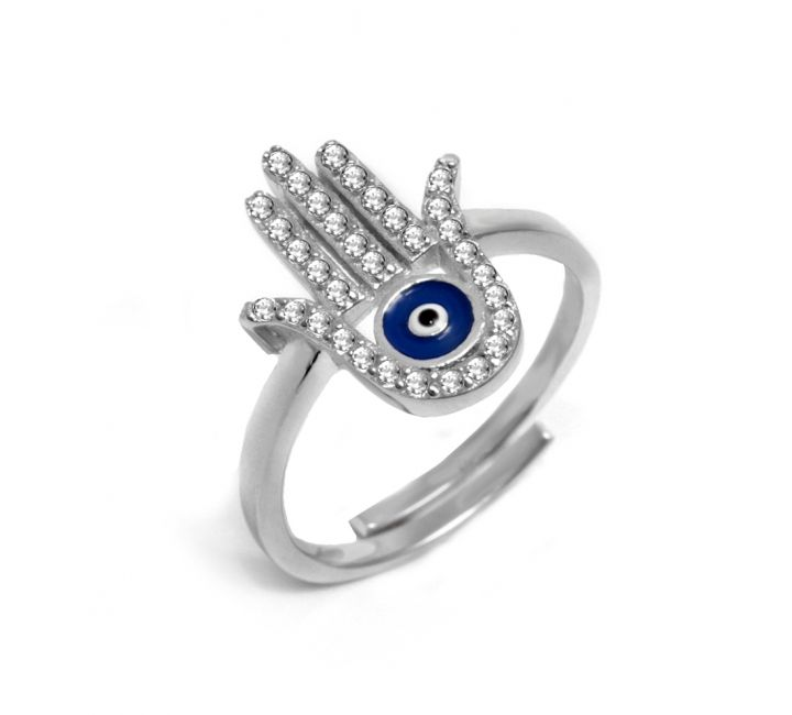 Silver Hamsa Hand Ring with Evil Eye Hamsa hand Evil eye and Evil