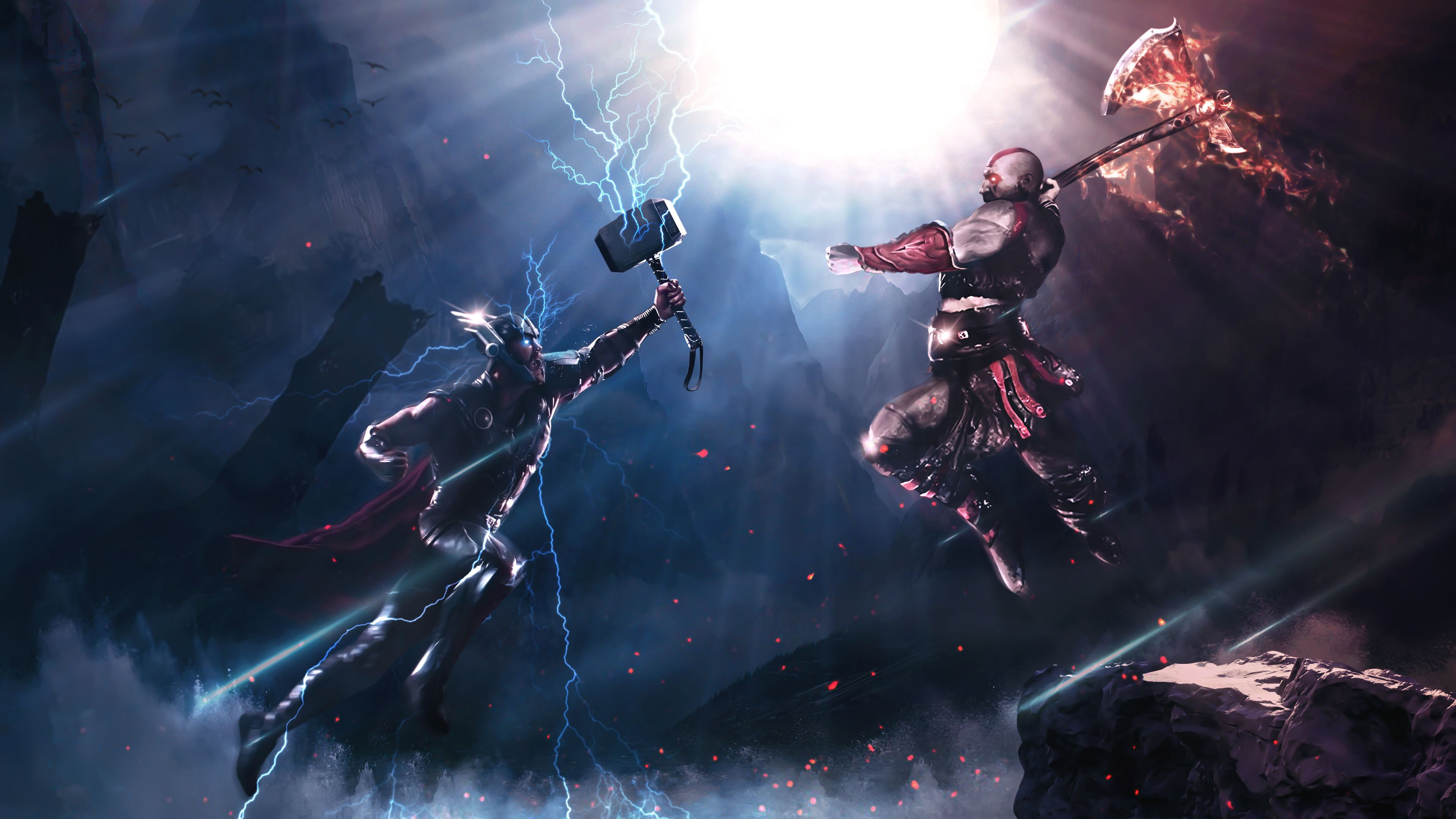Wallpaper 4k Thor Vs Kratos Art 4k 4kwallpapers, artwork