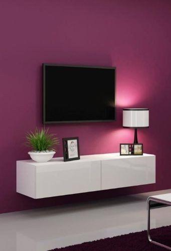 High Gloss Tv Stand Cabinet Wall Unit Entertainment Vigo Mini 4 Colour Combinations Black Matt White Glossy