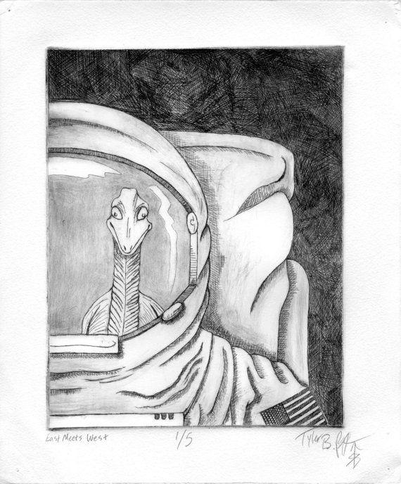 "East Meets West 10 x 12"" Etching Ink on paper 2008  #astronaut #printmaking #print #art #intaglio #dinosaur #space #cosmonaut #ink"