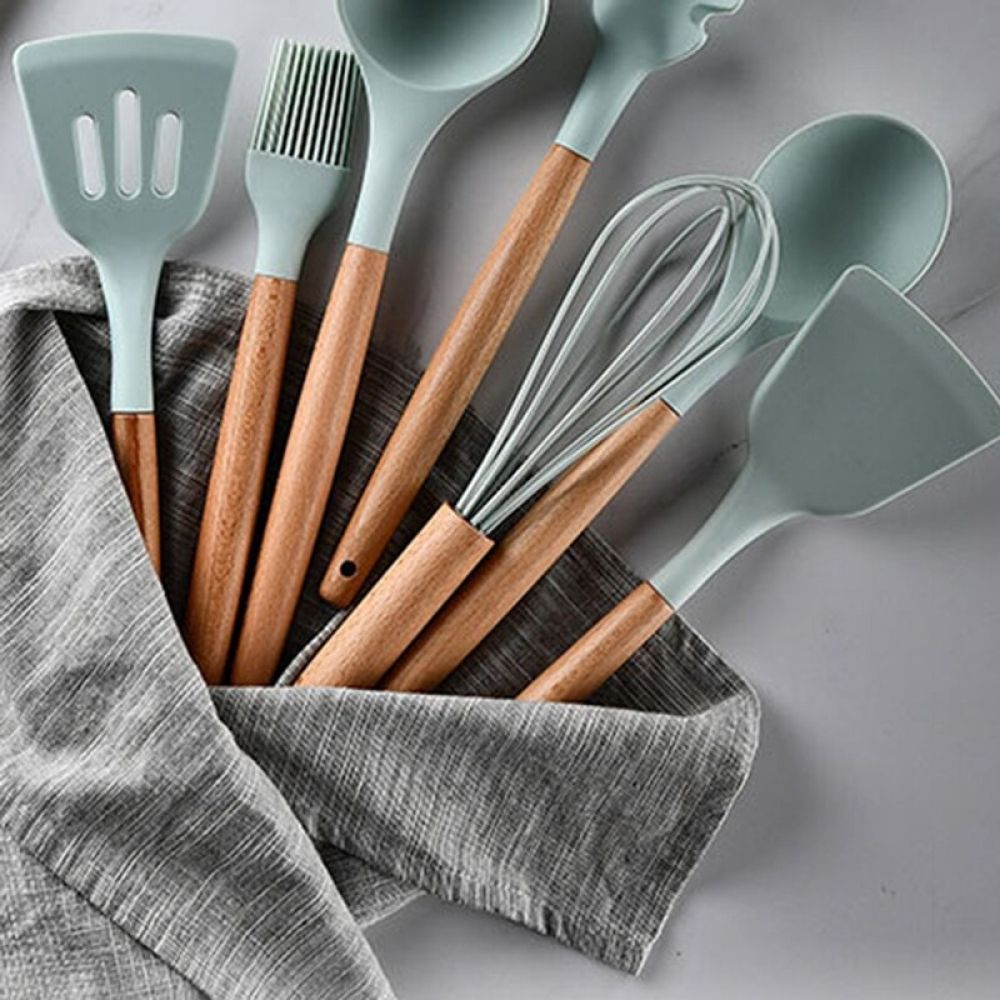 Durable And Practical Heat Resistant Silicone Kitchen Utensils Kitchen Tools Cookware Set Wooden Silicone Kitchen Utensils Cookware Set Heat Resistant Silicone