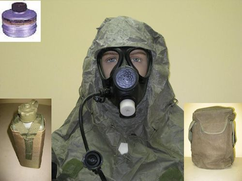This is the M-15 gas mask , which is the standard issue gas mask to the Israel Defense Forces. It features large triangular eye pieces for superior vision, a voicemeter for improved verbal communication capability, and an upgraded exhalation valve for easier breathing.  Israeli Military Issue Gas Mask 1 Filter Drinking Tube Hood Canvas Carrying Bag