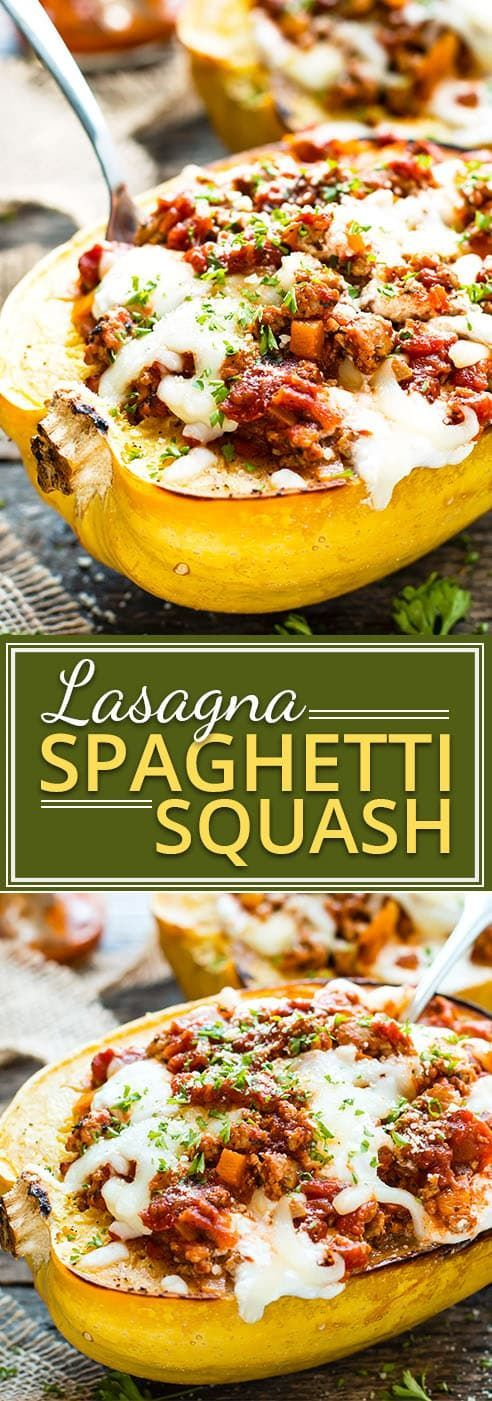 Lasagna Spaghetti Squash Boats with Ground Turkey | Low-Carb Dinner