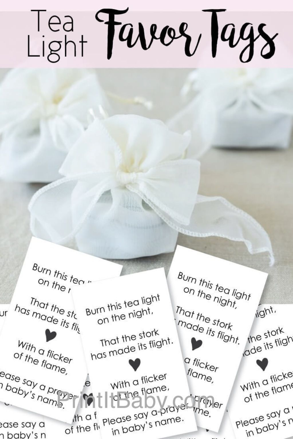 Printable Favor Tags For Tea Light Baby Shower Favors | Shower ...