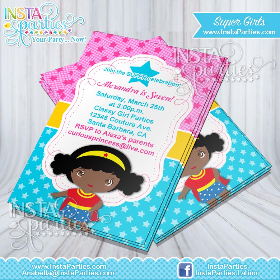 Superhero Girl invitations invitation super Birthday Party invites ...