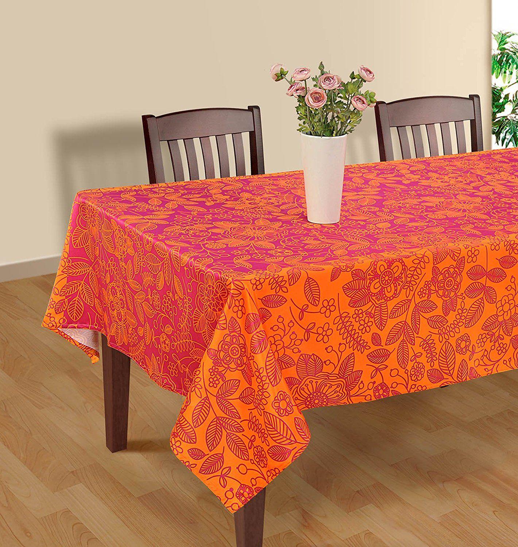 Superb Pink And Orange Tablecloth.