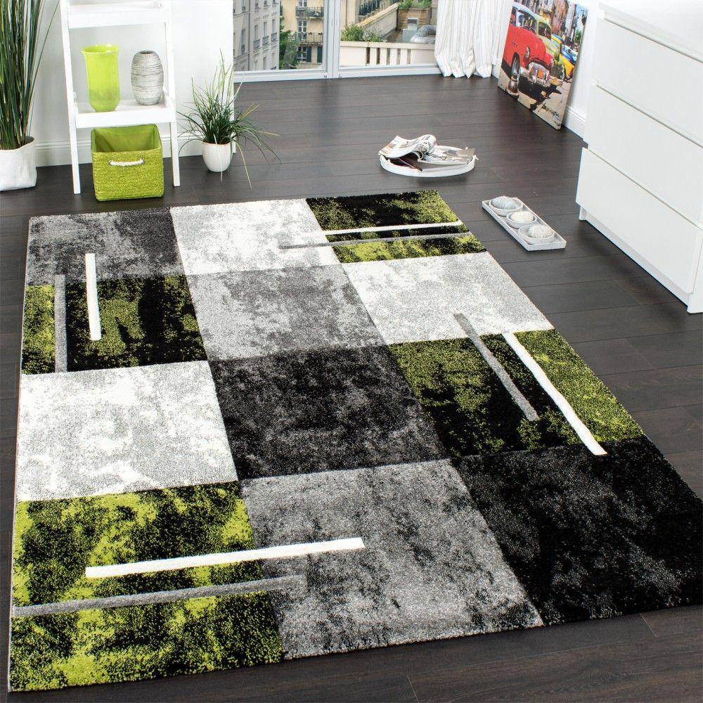 Designer Teppich Karo Grau Grün