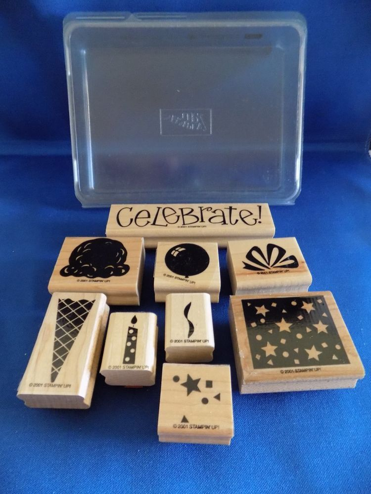 Two-Step Perfect Party Set of 9 Wood Mounted Rubber Stamps 2001 Stampin Up #StampinUp #Background
