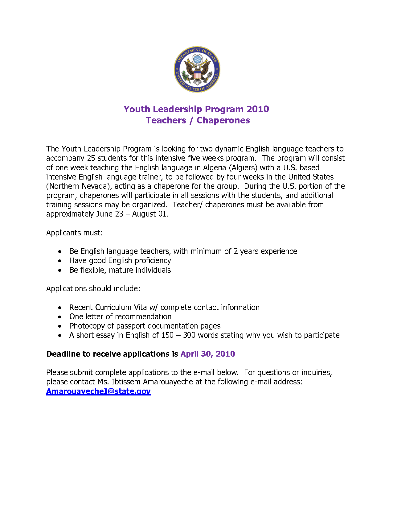 essay letters nursing leadership program Youth