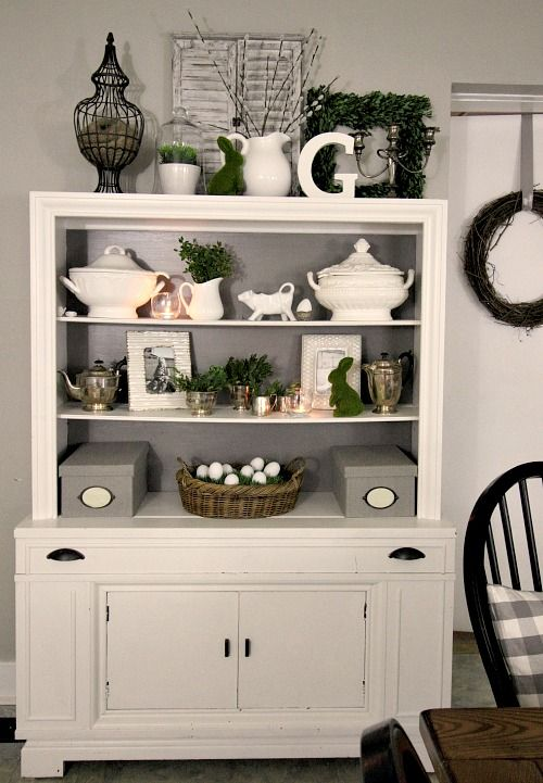 Love this white hutch you can do anything and decorate for Hutch decor