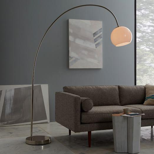 Overarching Acrylic Shade Floor Lamp Polished Nickel White
