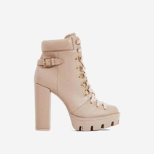 41d3245ac79 Veera Platform Ankle Biker Boot In Nude Faux Leather Image 1 | Heels ...