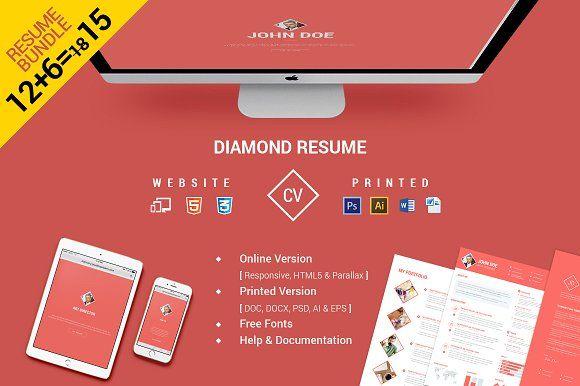 CV/Resume Bundle Website & Print by Pixel Strawberry on @creativemarket