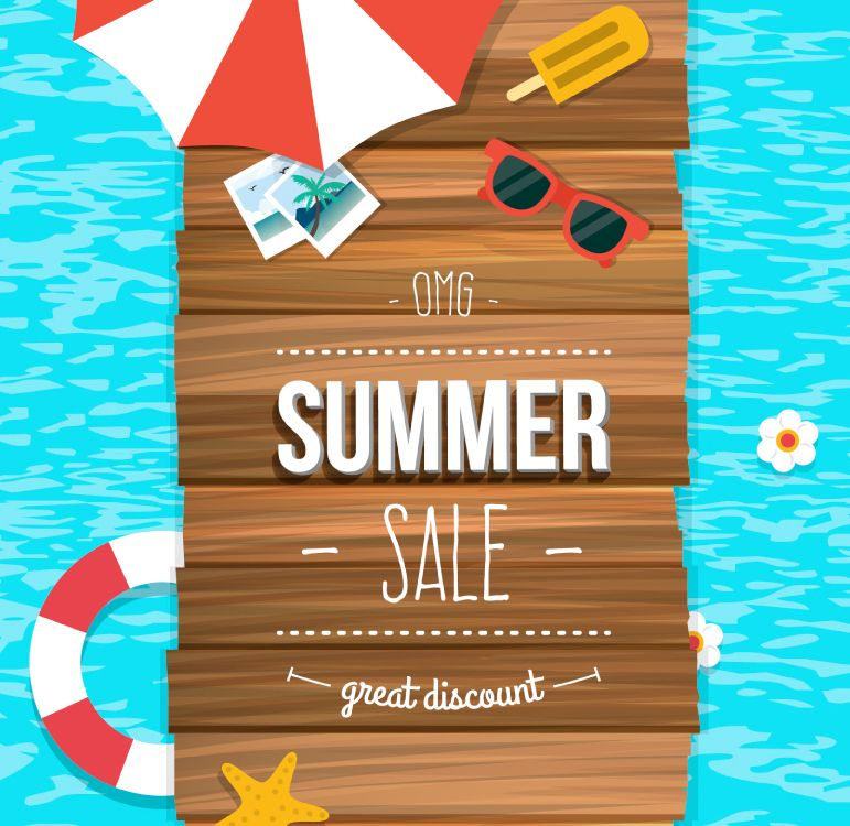 Promotional posters vector material summer beach for Swimstyle pool