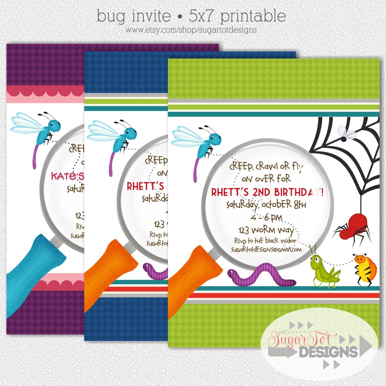 Bug Birthday Party Invitation, Bugs, Garden Party Birthday ...