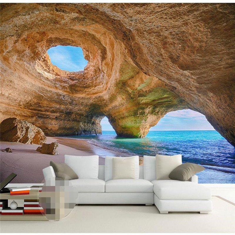 3D Wandbild Tapete Wohnkultur Hintergrund Fotografie Natürlichen Höhle Marvel Küstenlandschaft Bad Wandbild für Wohnzimmer
